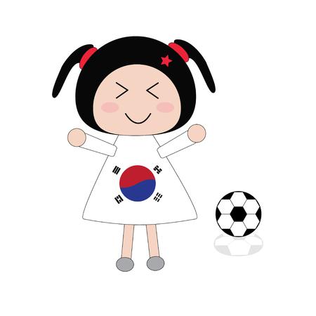 korea girl: Illustration little girl in Korea football dress