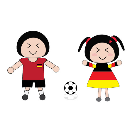 vector boy and girl in Germany football uniform Vector