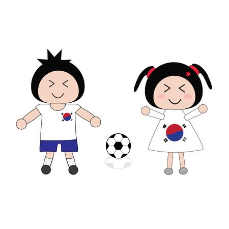 korea girl: vector boy and girl in Korea football uniform
