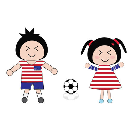 vector boy and girl in United States of America football uniform Vector