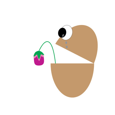 withered flower: vector egg crying and withered flower