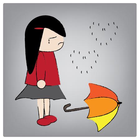lovelorn: Illustration girl crying in the rain