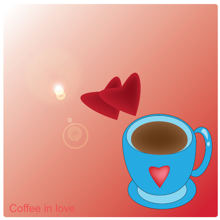 coffee mug and red heart on red background Vector
