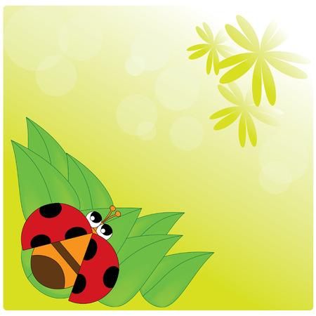lady bug: Abbildung Marienk�fer auf dem Blatt und dem gelben Hintergrund Illustration
