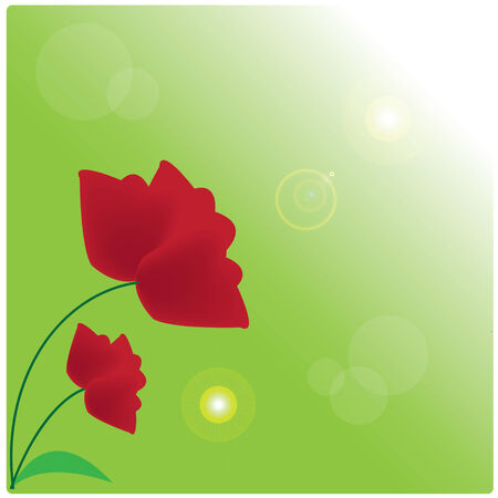 Iillustration red tulips on green background Vector