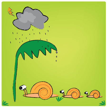 raining: illustration snail family and the raining
