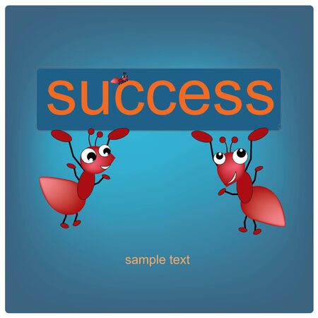 navy blue background: illustration abstract ants and success label on the navy blue background