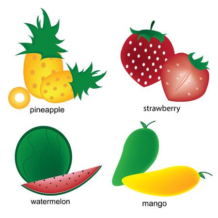 mango slice: fruits on the white background
