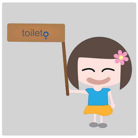 Illustration girl and toilet label Vector