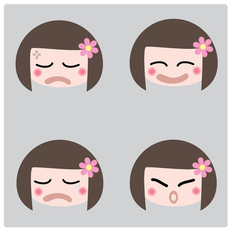 fidgety:  illustration cartoon girl faces icon on gray background