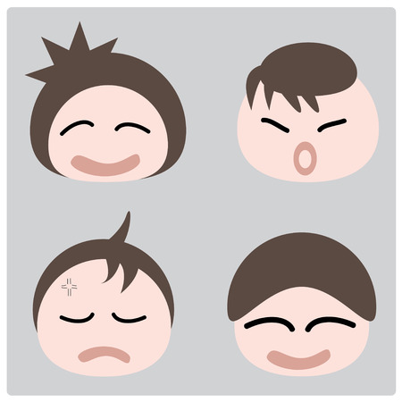 fidgety:  illustration cartoon boy faces icon on gray background