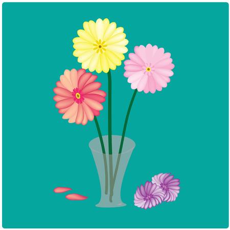 vector Colorful gerbera flowers in a vase Vector