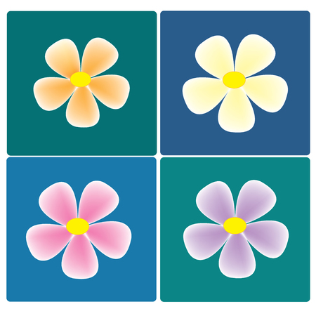 vector colorful flowers set on the colorful background Vector