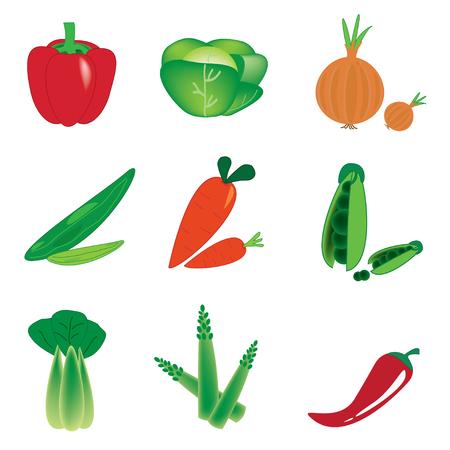 pimento: vector vegetables set on white background