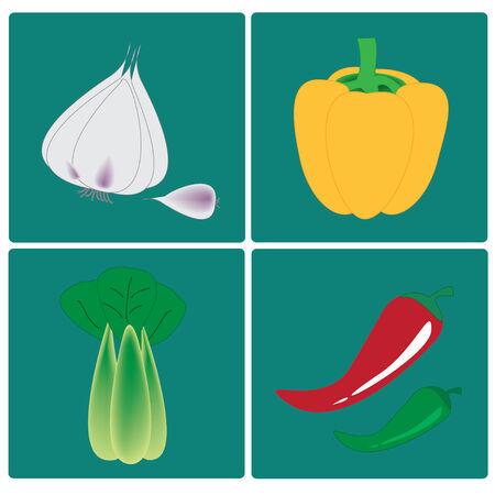 pimento: vector vegetables set on blue background Illustration