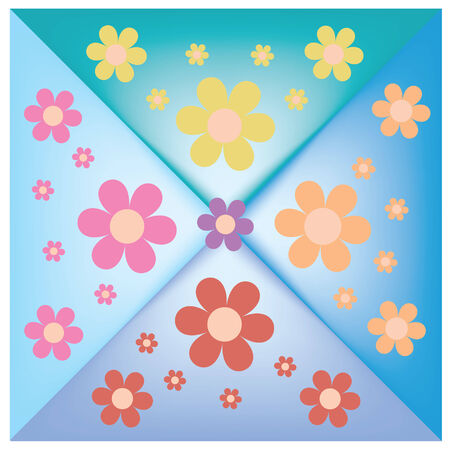 vector colorful flowers on the colorful background