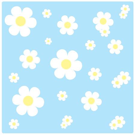 cerulean: vector white flowers on sky blue background vintage Illustration