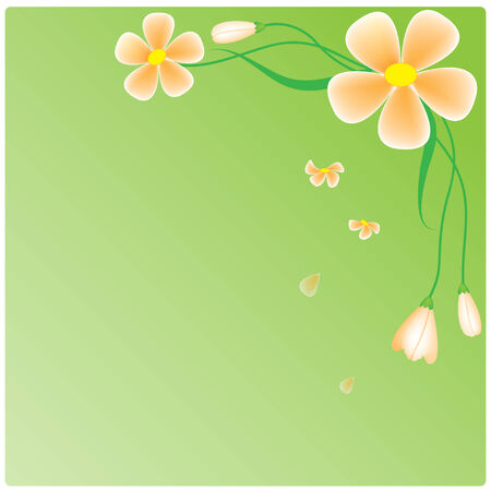 vector pink flowers on green background Vector