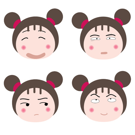 fidgety:  illustration cartoon girl faces icon on white background Illustration