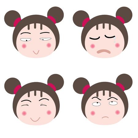 cute teen girl: иллюстрация мультфильм девушка сталкивается значок на сером фоне Иллюстрация