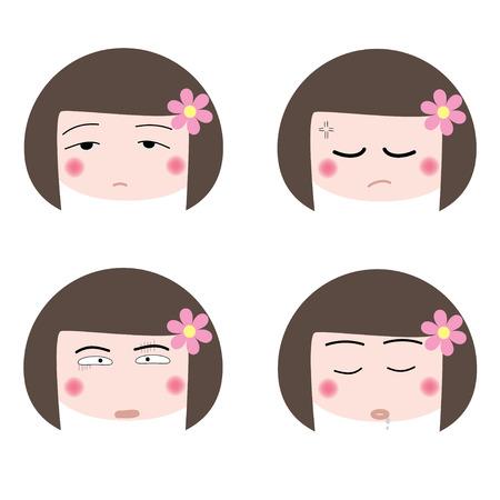 sleepiness: illustration cartoon girl faces icon on white background