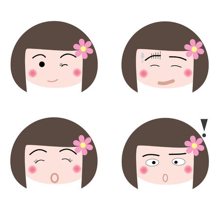 illustration cartoon girl faces icon on white background