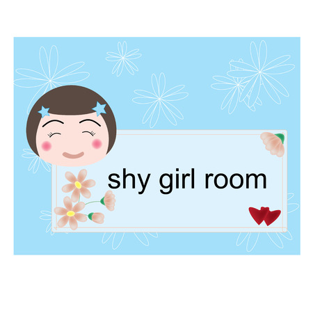 shy girl: vector shy girl room label