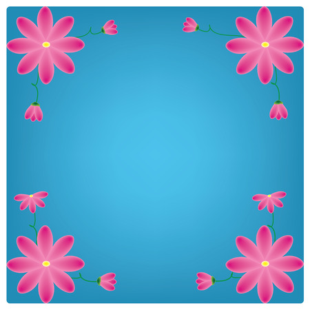 pring: vector flowers on the green background