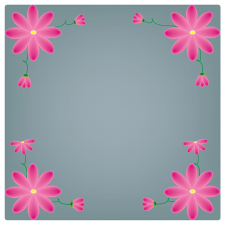 pring: vector flowers on the blue background