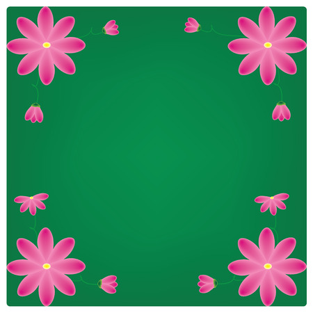 vector flowers on the green background Vector