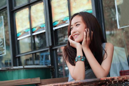 Asian women smile closeup Foto de archivo