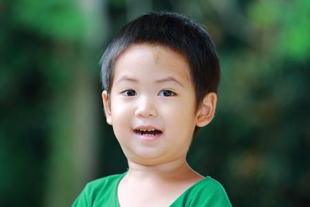 Portrait asian boy close up photo