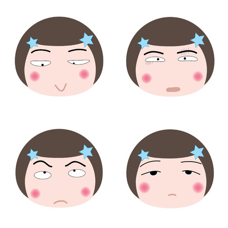 fidgety: illustration cartoon girl faces icon on white background