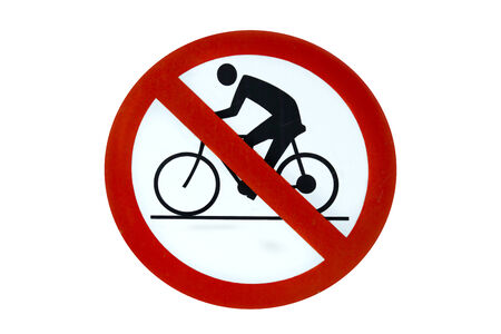 no cycling label on white background photo