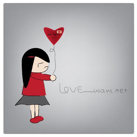 insulto: Ilustraci�n vectorial amor enfermo, coraz�n rojo con yeso estaba llorando. Vectores