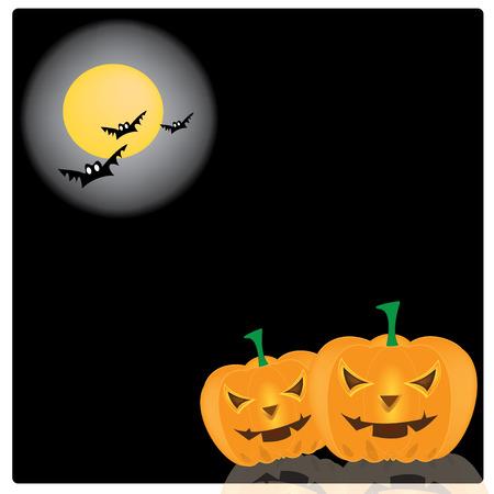 Vector, illustration halloween smile pumpkin background Illustration