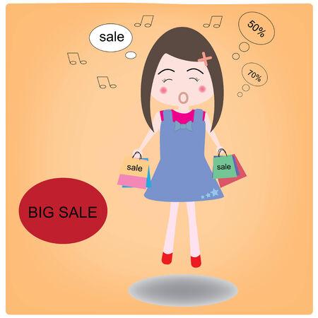 fiatal nők: Vektoros illusztráció fiatal nők boldogságot vásárlás