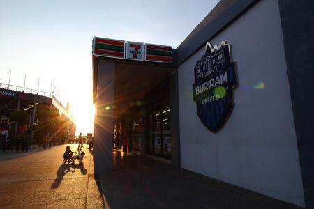 buriram: Buriram THAILAND - October 3: Sunset in the football club Buriram United. During Super GT race car, at Chang International Circuit in Buriram United, on October 4-5, 2014 at the Buriram, Thailand. Editorial