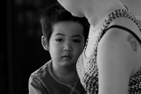 perverse: looked asian  child Black and white, close-up