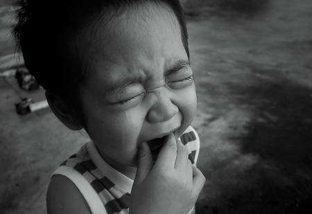 tearful: Asian boy cry, black and white, monochrome