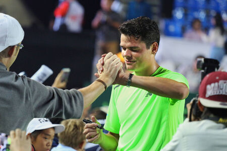 ranked: Hua Hin, Thailand - January 2: World tennis Thailand Championship 2015 at Centennial Park, on 31 December- January 2, 2015 at the Hua Hin, Thailand. Milos Raonic is ranked 8th in the world.