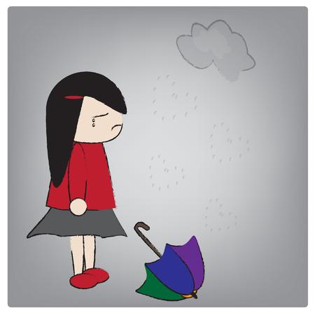 girl in rain: Illustration girl crying in the rain