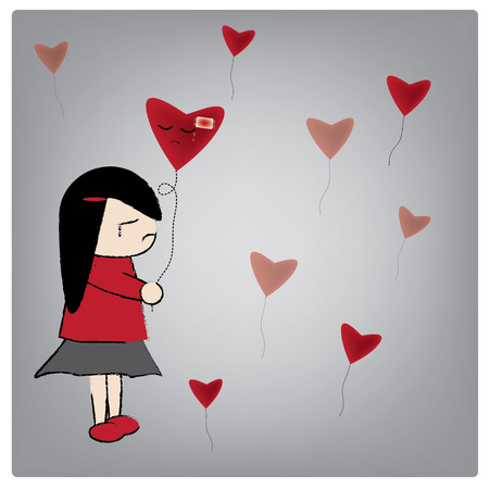 lovelorn: Vector illustration love want me?, Woman in red dress holding balloon was crying. Illustration