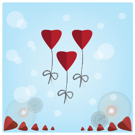 red balloons: Valentines day, Vector red heart balloons on blue background