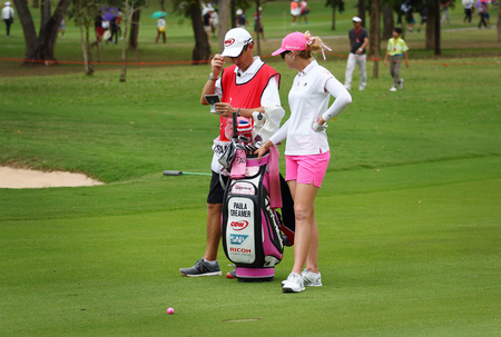 to paula: PATTAYA, THAILAND - March 2: Paula Creamer of US plays the shot during four of the 2015 LPGA Thailand at Siam Country Club in Chonburi, Thailand on March 2, 2015.