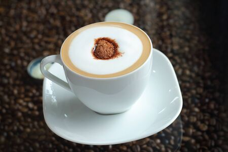 cosiness: Mocha in white coffee cup in the Coffee Shop Stock Photo