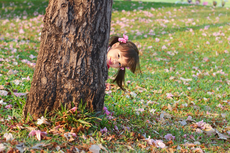 Portrait children, Little asian girl in pink qipao was smiling and playing hide-and-seek in the park