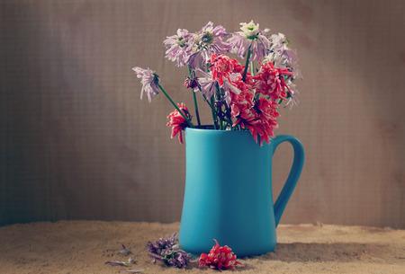 still life flowers: still life flowers, Wilted Chrysanthemum in blue vase