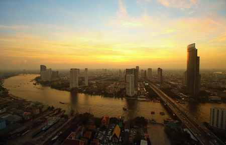 Bangkok skyline, Evening in Bangkok, Thailand