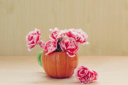 still life flowers: still life flowers, Carnation flowers in pink pig vase